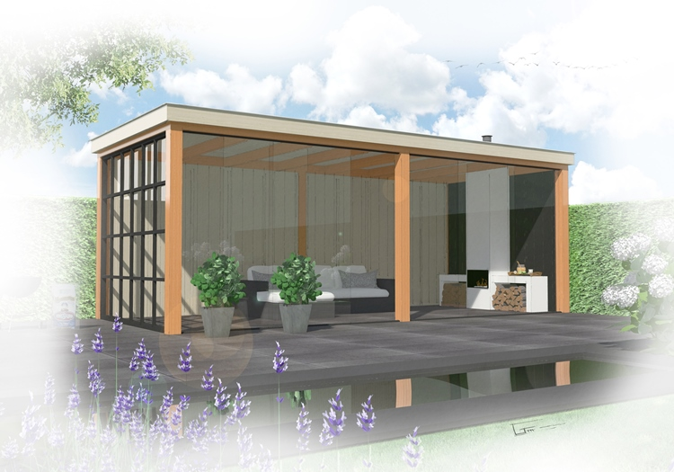 Douglas hout overkapping bladblazer kopen for Bouwtekening veranda eigen huis en tuin